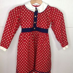 Vintage Sylvia Whyte Red White Peter Pan Dress
